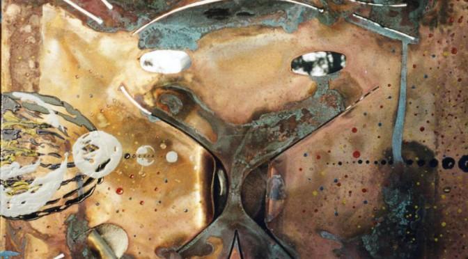 15 -meteorite di agosto -2005 cm 47 x 47 su lamiera di otto