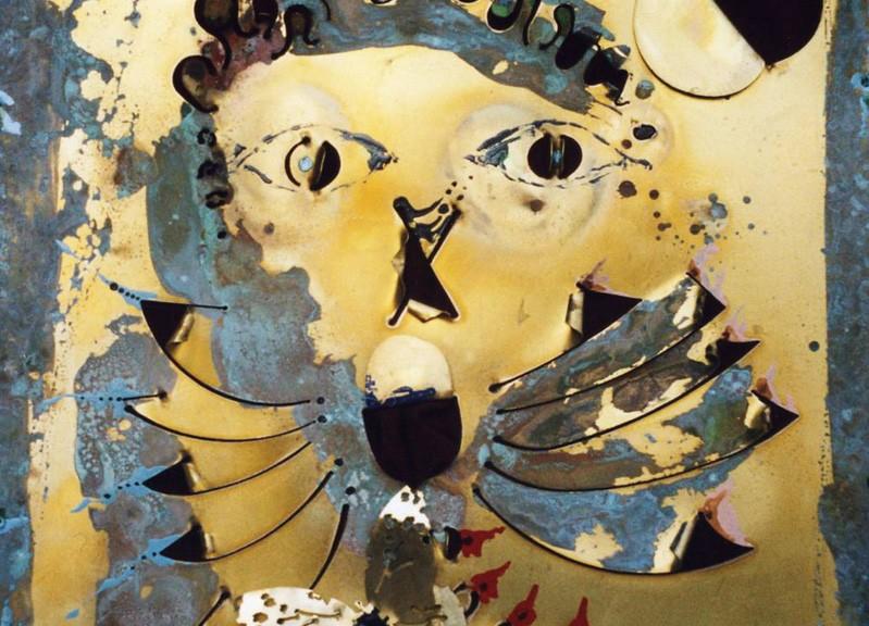 17 - le visage charmant -2005 cm 50 x 50 su lamiera fiorita